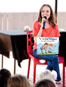 Ruby Roth with book V is for Vegan